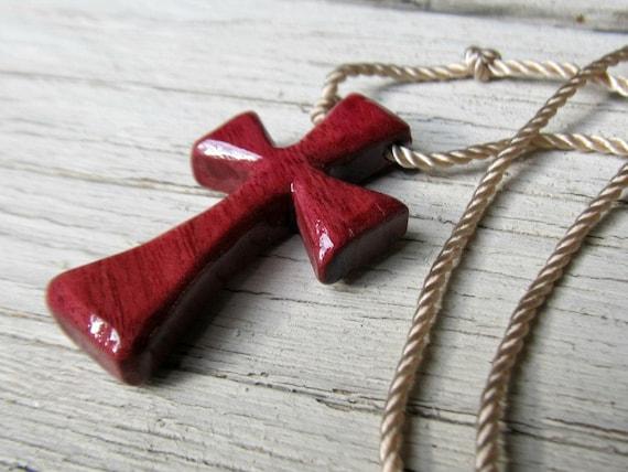Wood Cross Necklace - Brazilian Purpleheart - Mens Jewelry
