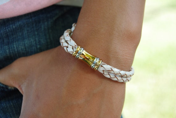 Braided Leather Bracelet, White, Gold, Silver