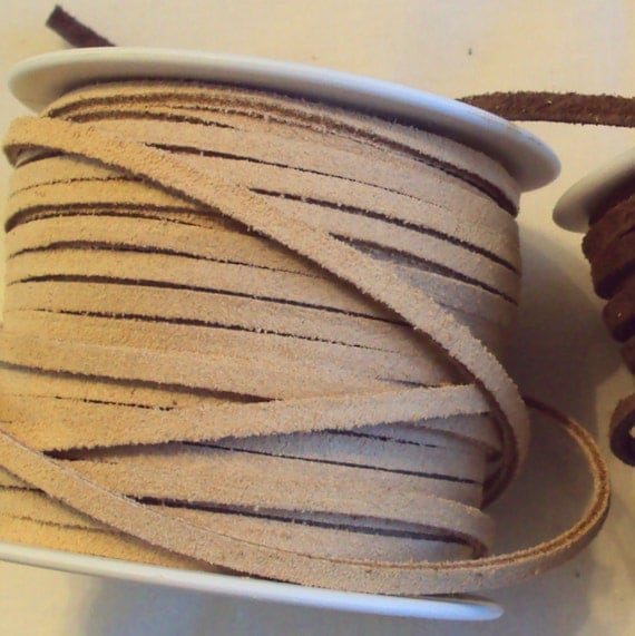 5 feet Genuine Leather Suede Flat Cord 3 mm 1/8 inch USA Seller Chocolate Brown or Natural Beige
