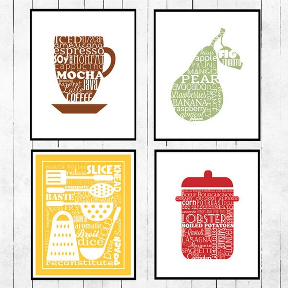 Kitchen, Art Collection, Print, Coffee, Fruit, Stock pot, red, brown, green, yellow