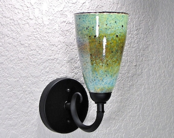 Scavo Glass Wall Sconce - Forest Green, A-Line