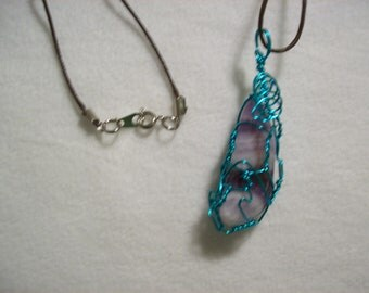 Wire Wrapped Polished Stone On Cord