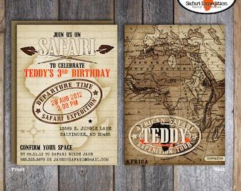 Safari Invitation | Jungle Safari Invitation | Safari Birthday Invitation | African Safari Invitation | Vintage Safari Invite | Printable