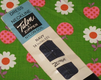 """Vintage Sewing Zipper Talon Nylon Coil 14"""" Navy Blue New in Package"""