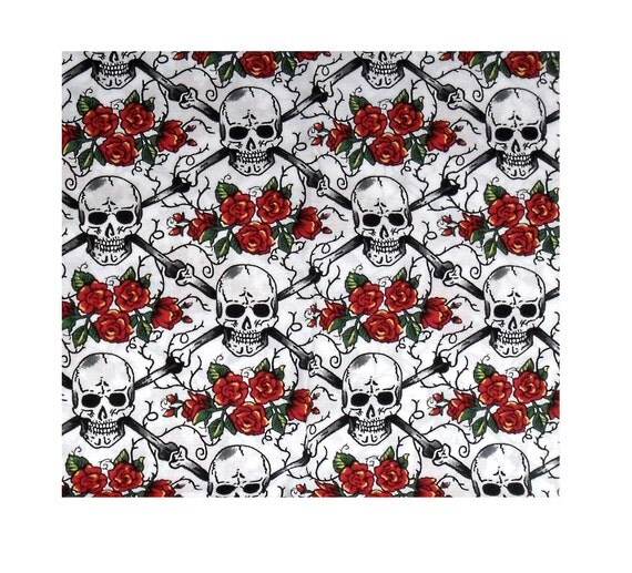 Skull Rose Fabric Black White Red by Shamash & Sons Pattern P5098, flowers, crossbones, quilters cotton, 1/2 yard, Halloween