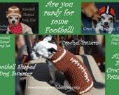Instant Download CROCHET PATTERN BUNDLE - Football Dog Sweater, Hat and Helmet