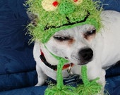 Instant Download Crochet Pattern - Christmas Grinch Dog Hat - Small Dog Beanie