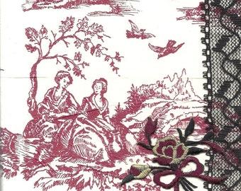 Original Mixed Media Art piece Mes Amis with Toile Tissue Black Lace Velvet Flower