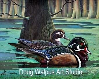 Acrylic Duck Print Painting Fine Art Wood Ducks Water Trees 11 x 14 Signed/Numbered Birds Wildlife Animal Wall Art