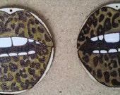 Bronze Leopard Lip Earrings