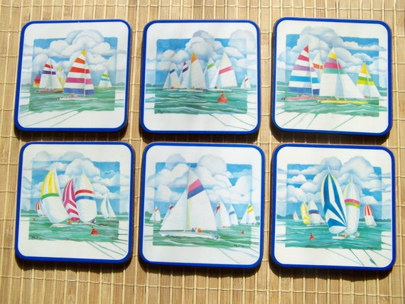 """Vintage 80's """"PIMPERNEL COASTERS""""  in a Nautical Theme Made in England SET of 6"""