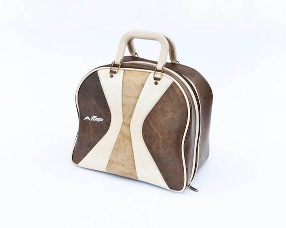 Vintage AMF Brown Bowling Bag Retro Stripes