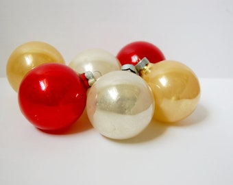6 Glass Vintage Christmas Ornaments Gold, Red, Pearl