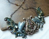 The Singing Fish Collar - Amazing mixed metal necklace with Swarovski crystals