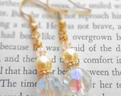 Vintage Glass Crystal Earrings with Glass Pearls and Swaroski Crystals