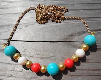 Bright Beaded Vintage Necklace in Coral Aqua White and Gold on a Vintage Chain Bright Accessories