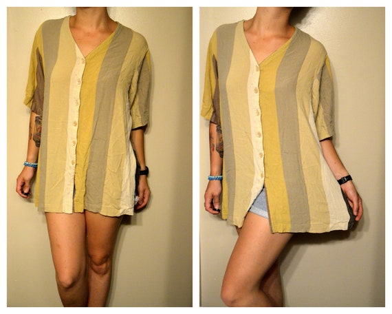 Multicolored Striped Vintage Hipster Summer Beach Cover Up or Shirt