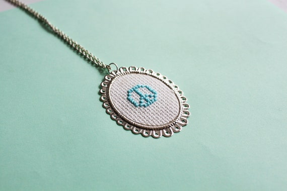 Light Blue Peace Sign Cross Stitch Cameo Necklace