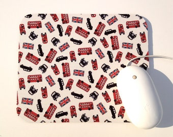 London Mouse Pad / British Flag Cab Taxi Bus / Office Home Decor / Red, Black, and Cream / Dear Stella