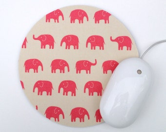 Elephant Mousepad / Pink and White Kawaii / Round Mouse Pad / Office Home Decor / Japanese Tip Top Canvas Daiwabo