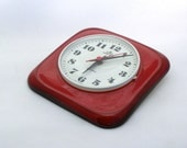Vintage ceramic wall clock from Germany - red