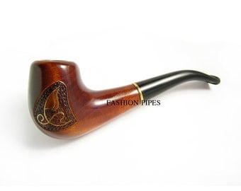 "Fashion Smoking Pipe/Pipes Tobacco pipe Wooden pipe ""YACHT INLAID"" for pipe smokers. Pear Root Wood Handcrafted Pipe"