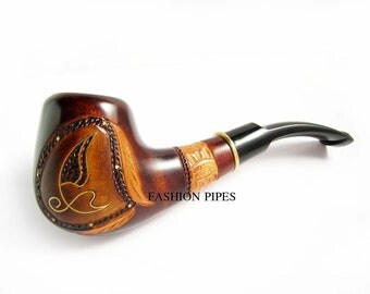Fashion Pipe Handcrafted Tobacco Pipe, Wood Pipe Inlaid and Metal Engraving Wooden pipe. BEST Price in FPS