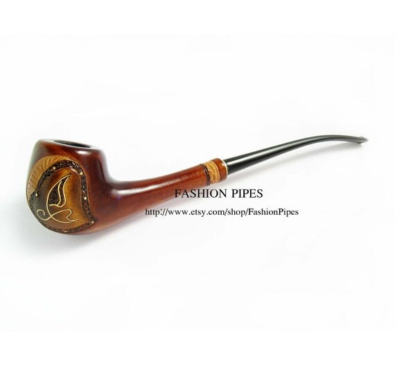 "Lady Wooden Tobacco pipe Inlaid ""Summer Style"". Long smoking pipe Magic Wood Pipe, Exclusive Handmade. Limited edition."