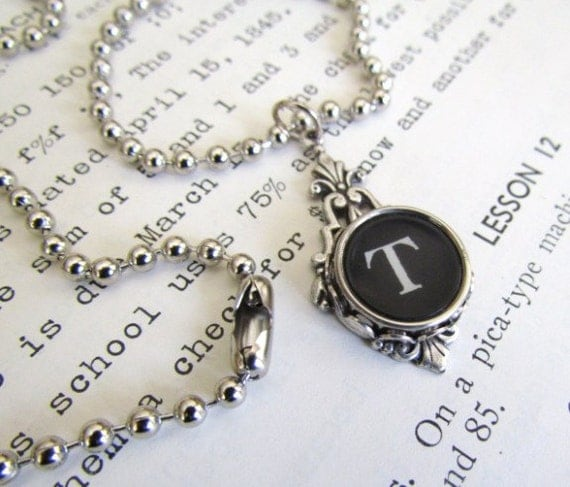 PERSONALIZED Vintage Typewriter Key Necklace in Art Deco Style Setting