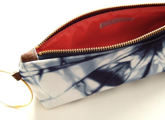 100% Organic Cotton Shibori Clutch - Navy Shibori Wristlet Clutch - Marine