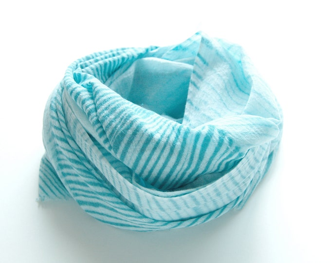 Turquoise Shibori Scarf - gauzy cotton summer scarf - Sea Glass