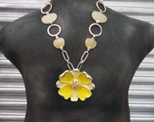 Unique Statement Piece, large yellow daisy with yellow stone beads, silver chain and free matching earrings