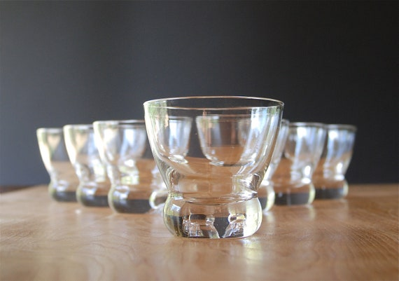 Seven Zeisel Lowball Glasses for Prestige by Federal Glass - Mid Century Barware
