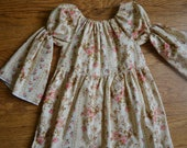 Girls Tea Dyed, Fall, Floral Peasant Blouse Sizes 18 months-6