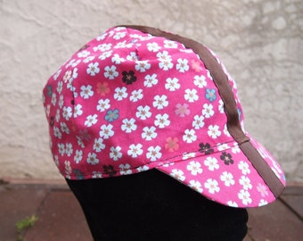 Cycling Cap - Pink with light coloured flower pattern