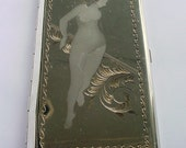 Metal Case - Holder Vintage Beautiful Nude Woman Etched Metal RARE - Free US Shipping