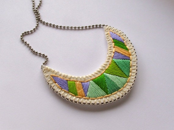 Crescent embroidered pendant necklace in pretty greens and purple tribal summer fashion