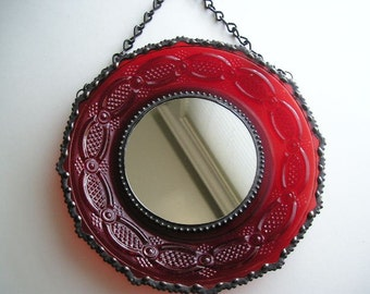 Stained Glass Mirror|Vintage Plate|Red|Round Mirror|Vintage Avon Plate|Mirror|Home & Living|Home Decor|Mirrors|Glass|Handcrafted|Made in USA
