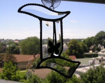 Stained Glass Initial L|Letter L|L|LMonogram|Beveled Glass|Butterfly|Art & Collectibles|Glass Art|Suncatchers|Handcrafted|Made in USA