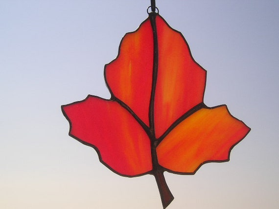 Stained Glass Suncatcher - Orange Maple Leaf - Autumn Leaf - Handcrafted - Made in USA
