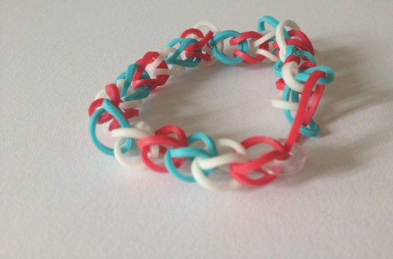 ... similar to Patriotic - Single Rainbow Loom Bracelet (GLOW) on Etsy