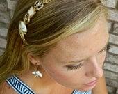 Gold Button Headband