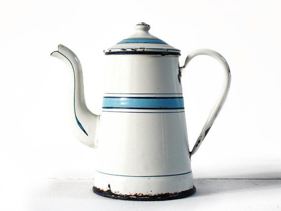 Delicate little FRENCH Enamel Coffee POT