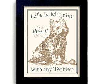 Terrier Lover Art Westie Personalized Custom Dog Art Gift Wheaten Terrier West Highland