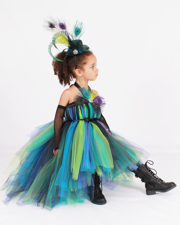 Tutu Dress Punk Rock Peacock Halloween by Cutiepatootiedesignz