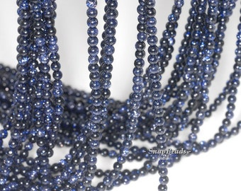 3MM Disco Blue Sandstone Gemstone, Blue, Round 3MM Loose Beads 16 inch Full Strand (90114027-107 - 3mm B)