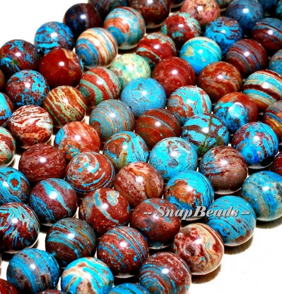8mm Calsilica Gemstone Turquoise Blue Brown Round Loose Beads 7.5 inch Half Strand (10233687-43)