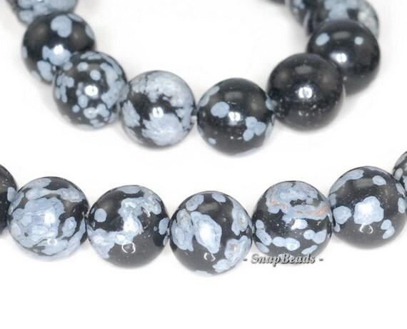 Cristobalite Snowflake Obsidian Gemstone Round 8mm Loose Beads 7.5 inch Half Strand (90181861-243)