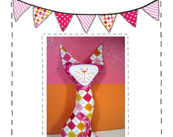 Cat Sewing Pattern - Meow Meow Kitty Cat Stuffed Animal Sewing Pattern - PDF Instant Download - Toy - Cat Stuffie pattern - Softie Pattern