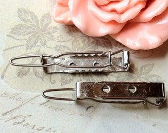25 mm Silver Tone Barrette Hair Clips / Snap Hair Clips (.mu)